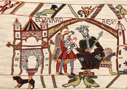 Edward The Confessor. Anglo-Saxon king of England from 1042. Bayeux Tapestry. Print.  (003658)